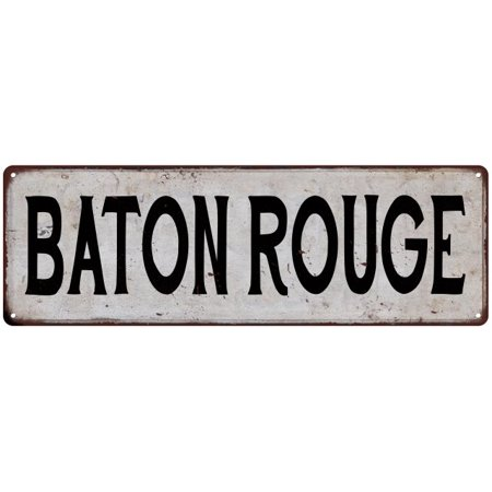 BATON ROUGE Vintage Look Rustic Metal Sign Chic City State Retro - Party City Baton Rouge