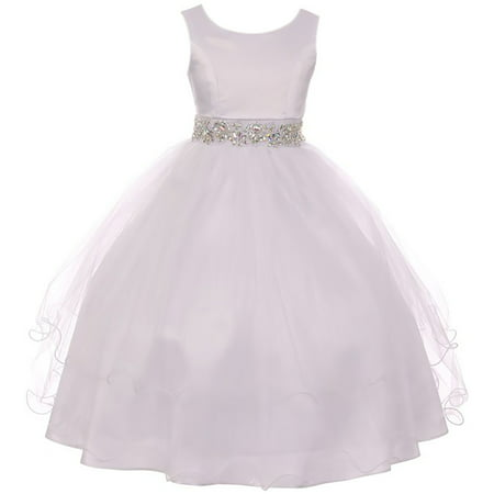 Flower Firl (Little Girl Sleeveless Rhinestone Formal First Communion Flower Girl Dress White 6 MBK 374 BNY)