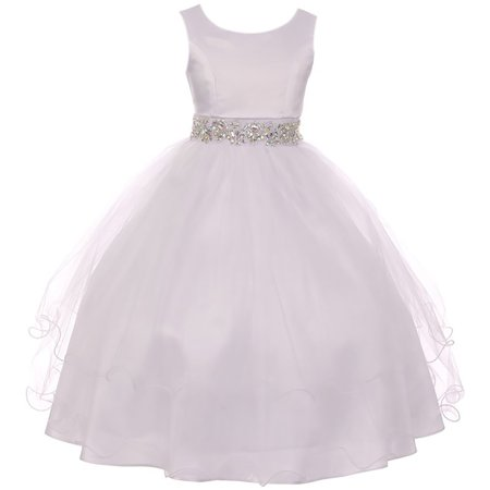 Little Girl Sleeveless Rhinestone Formal First Communion Flower Girl Dress White 6 MBK 374 BNY - First Communion Crinoline Slip