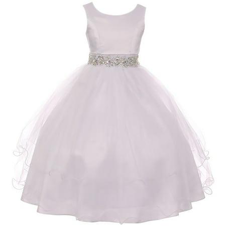 Little Girl Sleeveless Rhinestone Formal First Communion Flower Girl Dress White 6 MBK 374 BNY - Cotton First Communion Dress