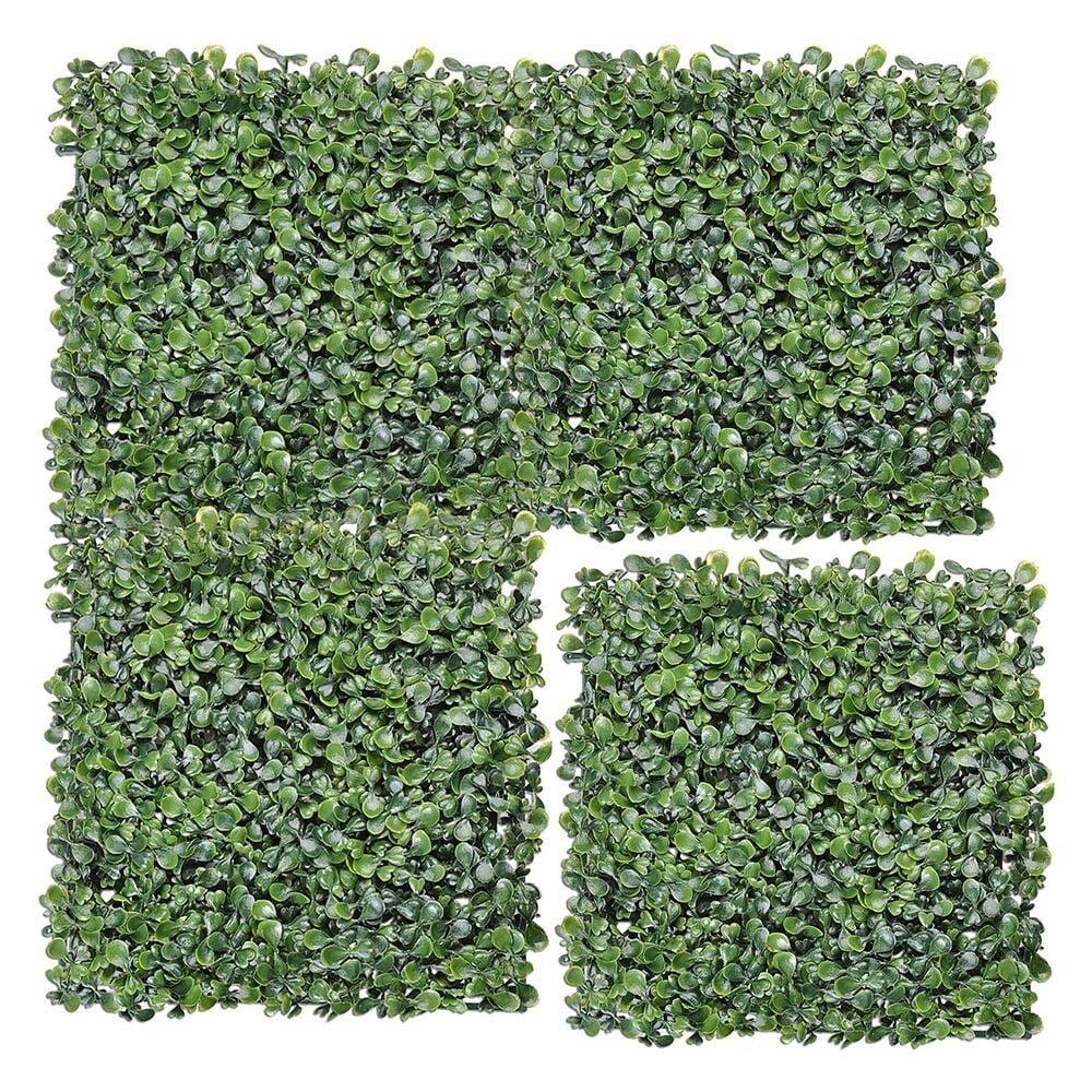 "24Pcs Artificial UV Boxwood Mat Wall Hedge Decor w// Ties Grass Fake Fence 10x10/"""