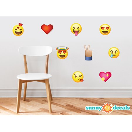Decal Sticker Set (Emoji Emoticon Fabric Wall Decals - Set of 9 Phone Text Faces Wall)