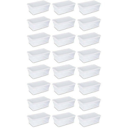 Economy Tote (Sterilite 6 Quart Clear Stacking Closet Storage Tote with White Lid (24 Pack))