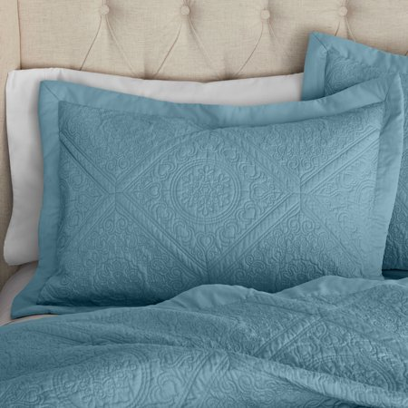 Hotel Style Chateaux Full/Queen Teal Silk Coverlet 3pc Set ()