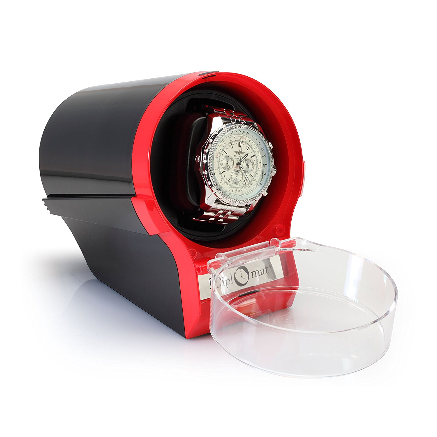 Diplomat Single Red/Black Watch Winder with 12 Programmed Settings and Japanese Mabuchi Motor