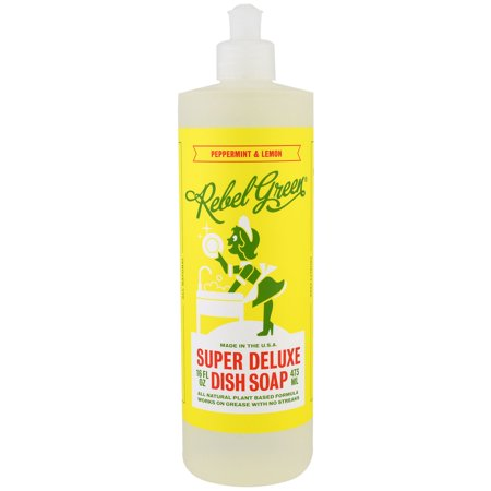 Rebel Green, Super Deluxe Dish Soap, Peppermint and Lemon, 16 fl oz(pack of 1)
