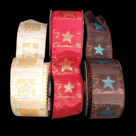 Merry Christmas Brown and Blue Star Holiday Wired Craft Ribbon 2.5