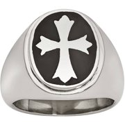 Stainless Steel Enameled Cross Polished Ring, Available in Multiple Sizes