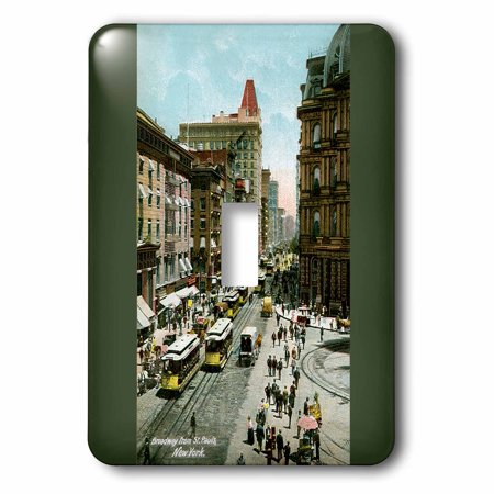 - 3dRose Broadway From St. Pauls New York City Street Scene with Trolley Cars, 2 Plug Outlet Cover