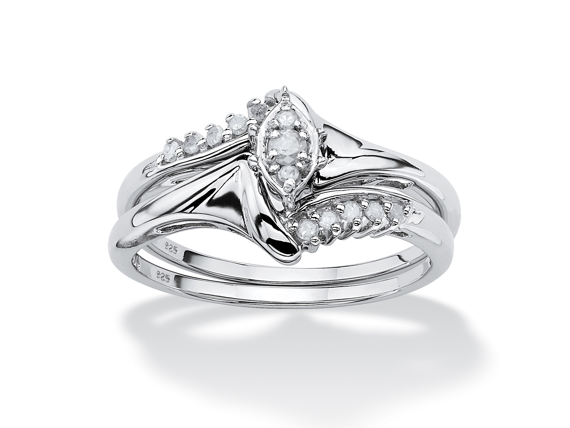 1 5 TCW Round Diamond Two-Piece Bridal Set in Platinum over .925 Sterling Silver by PalmBeach Jewelry