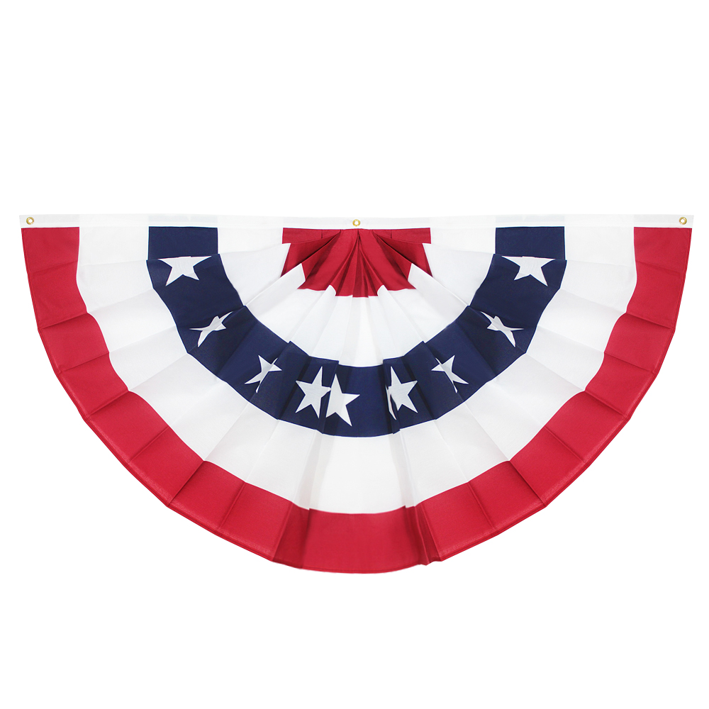 USA Pleated Fan Flag, ANLEY 3x6 Feet American US Bunting Flags Patriotic Stars & Stripes - Sharp Color and Fade Resistant - Canvas Header and Brass Grommets - United States 3 x 6 Feet Half Fan Banner