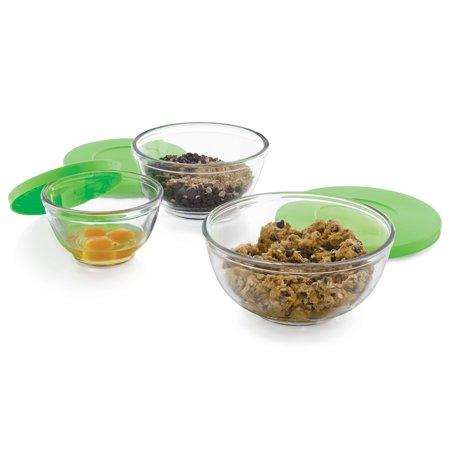 Libbey Baker's Basics 3-Piece Glass Mixing Bowl Set with Plastic Lids, - Plastic Glasses With Lids
