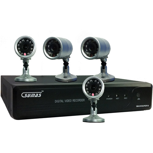 Sumas Media SM-DVSUPER10 4 Channel H.264 DVR Security System with 4 Indoor/Outdoor CMOS Night Vision Cameras