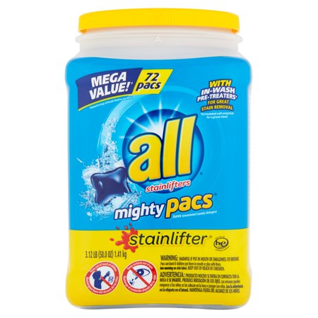 All With Stainlifters Mighty Pacs Super Concentrated Laundry Detergent  72 Ct  50 7 Oz