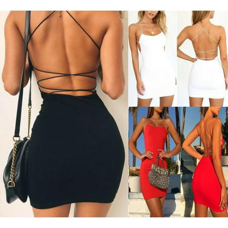Slip Dress New Brand Women Girls Summer Casual Bandaged Sleeveless Blackless Dresses Sexy Lady Party Beach Slim Mini Dress