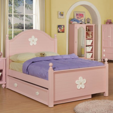 Acme Furniture Floresville Pink and White Flower Kids Platform Bed with Optional Trundle