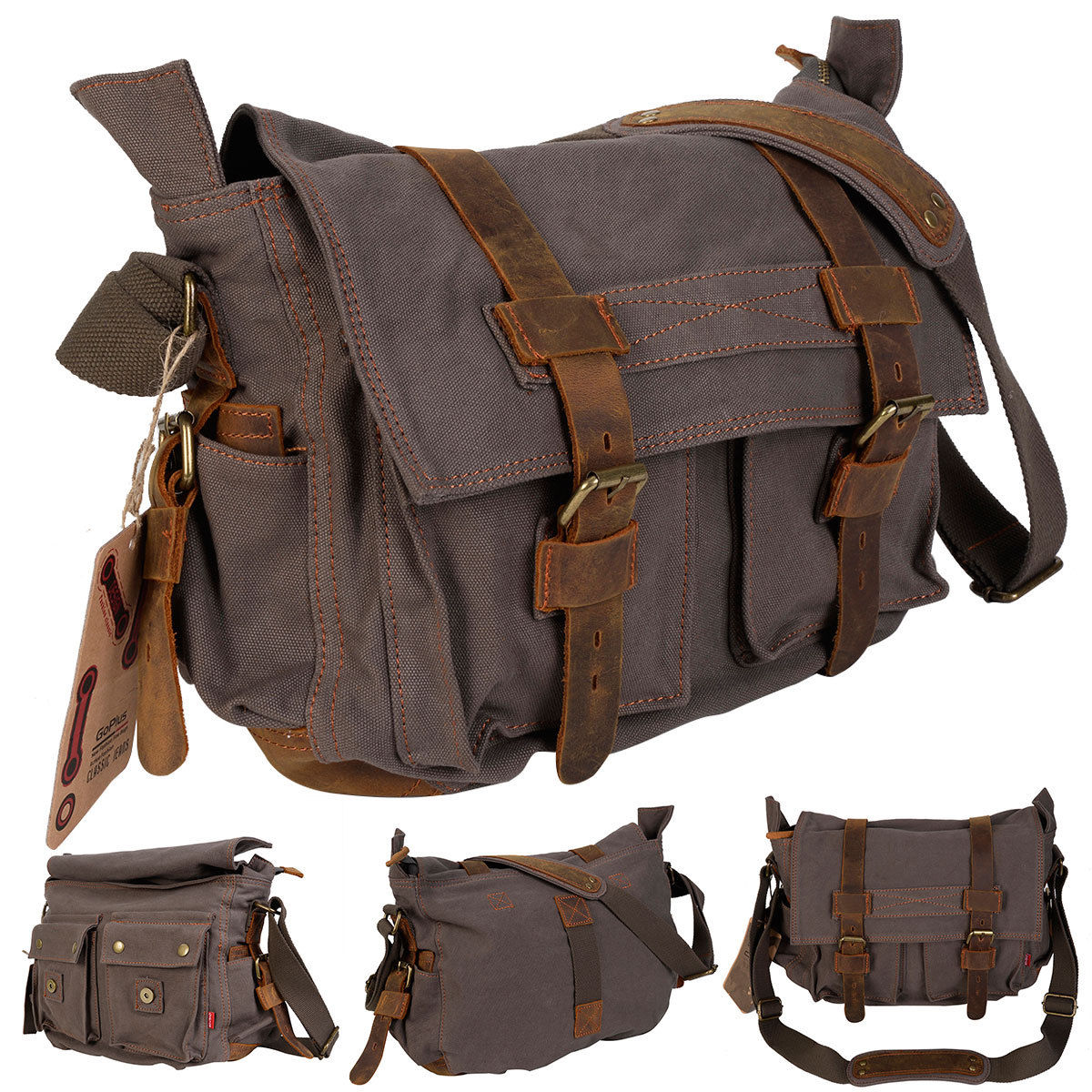 Costway Men's Vintage Canvas Leather School Military Shoulder Messenger Bag (Army Green)