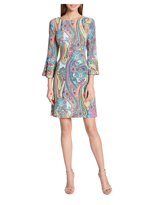 Jaipur Paisley Bell-Sleeve A-Line Dress