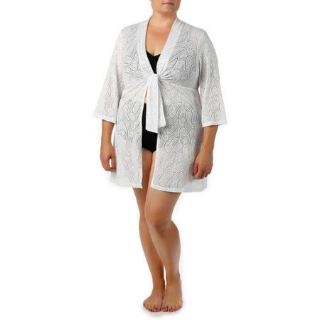 Catalina Women's Plus-Size Crochet Tie-Front Tunic Swim Cover-Up