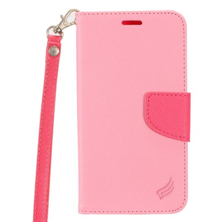 Insten Flip Leather Fabric Cover Stand Card Case Lanyard w/Photo Display for Apple iPhone 8 Plus / iPhone 7 Plus (5.5