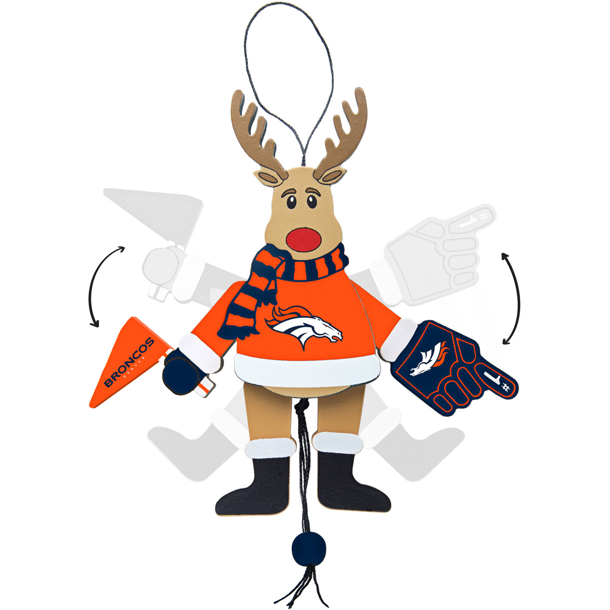 Topperscot by Boelter Brands NFL Wooden Cheering Reindeer Ornament, Denver Broncos