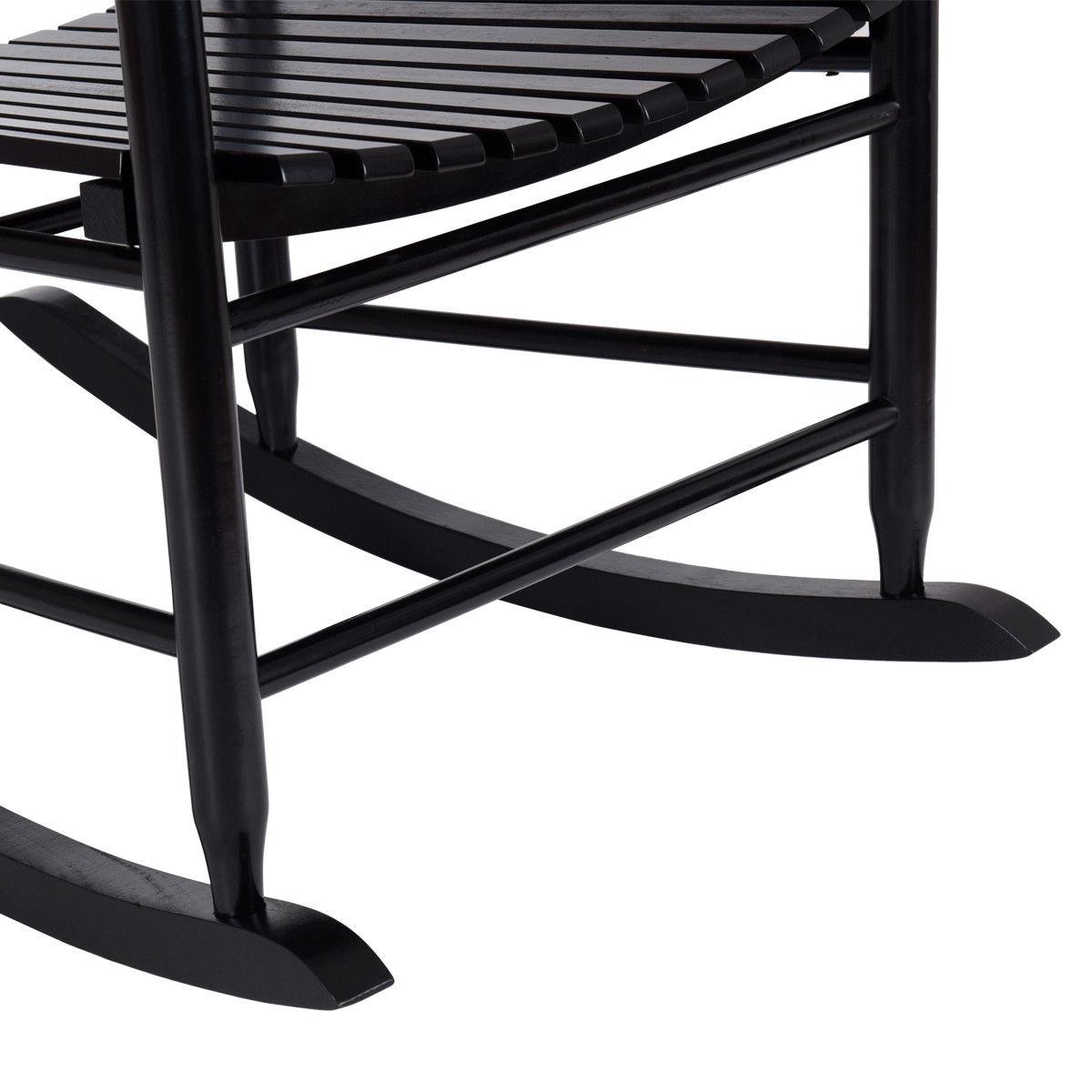 Gymax Wooden Rocking Chair Porch Rocker Armchair Balcony Deck Garden Furniture Black - image 1 of 8