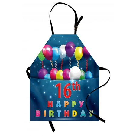 16th Birthday Apron Sweet Sixteen Theme Teenage Design Party Balloons Kitsch Celebration Image, Unisex Kitchen Bib Apron with Adjustable Neck for Cooking Baking Gardening, Multicolor, by Ambesonne - Old Hollywood Themed Sweet 16