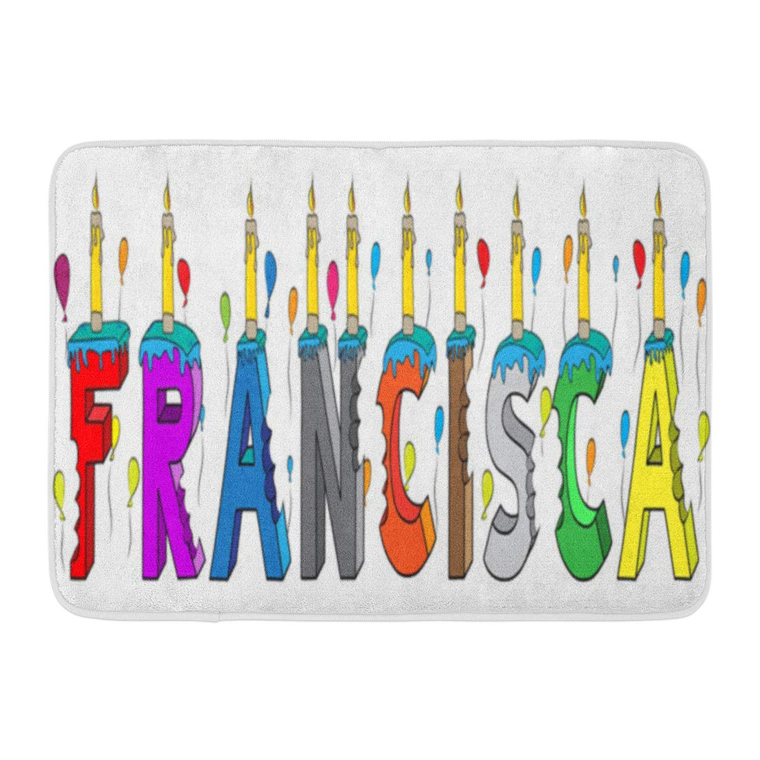 Godpok Alphabet Francisca First Name Bitten Colorful 3d Lettering Birthday Cake With Candles And Balloons Rug Doormat Bath Mat 23 6x15 7 Inch