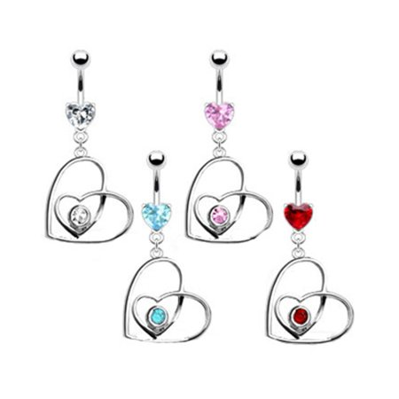Belly Ring With Jeweled Heart Inside Dangling Crooked Heart Aquamarine