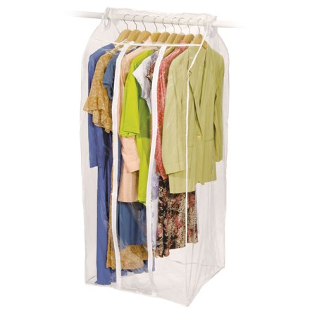 Jumbo frameless garment bag organize storage clean neat for Clear plastic dress shirt bags