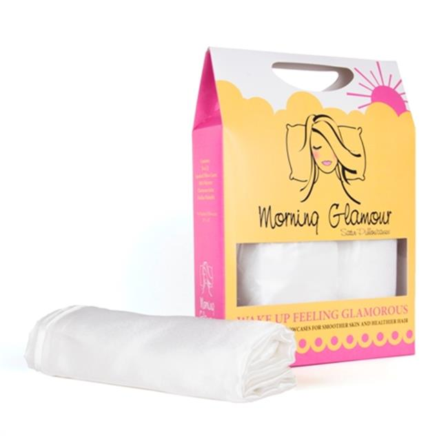Morning Glamour Signature Box 2 Pack Satin Pillowcases, Ivory