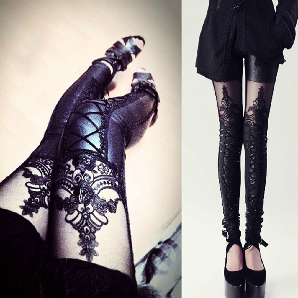 PU Leather Lace Embroidered Tights Stretchy Leggings Women Pants Slim Trousers