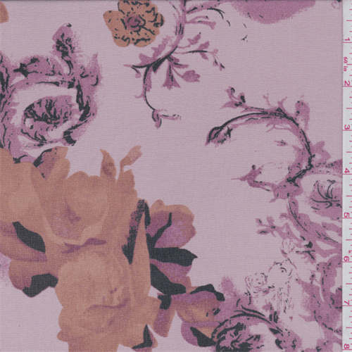 Creamy Pink Baroque Floral Print Silk Chiffon, Fabric By the Yard