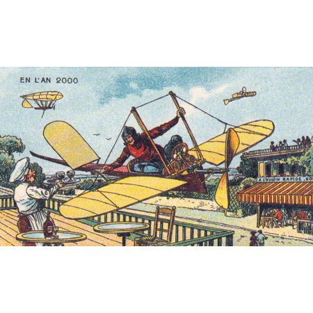 (Fly-Thru Cafe 1900s French Postcard Stretched Canvas - Science Source (24 x 18))