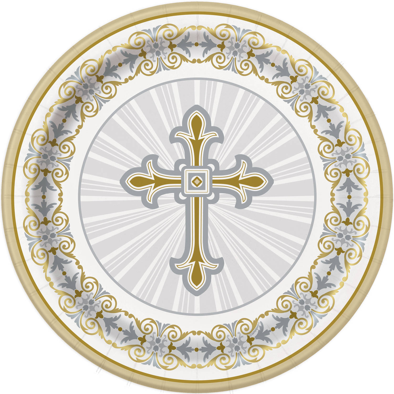 Gold & Silver Radiant Cross Religious Paper Dinner Plates, 9in, 8ct