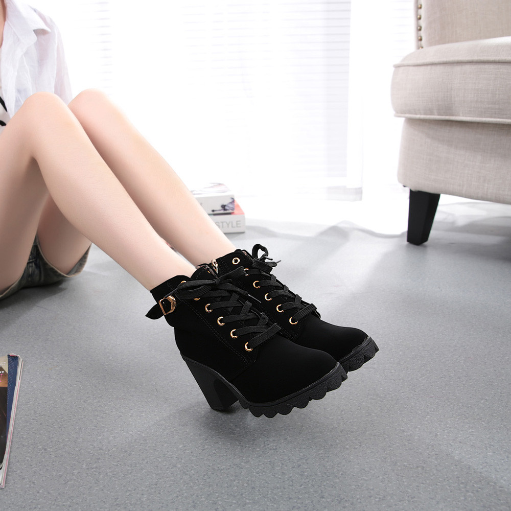 DZT1968 Womens Fashion High Heel Lace Up Ankle Boots Ladies Buckle Platform Shoes