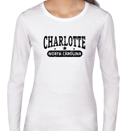 Trendy Charlotte  North Carolina With Stars Womens Long Sleeve T Shirt