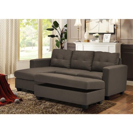 Reversible Sectional With Drop Down Tray Storage Ottoman