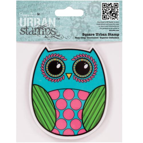 "docrafts Papermania Cling Urban Stamp 4""X4""-Owl"