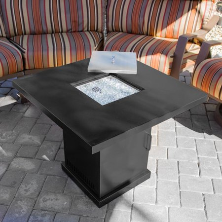 Belleze 40,000BTU Gas Firepit Table Heater w/ Fire Glass Kit, Black