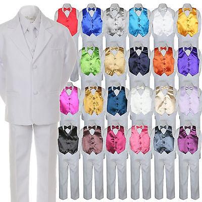 Tux Formal Wear (7pc Boy Kid Teen Formal Wedding Wear White Suit Tuxedo Extra Vest Bow Tie 8-20 )
