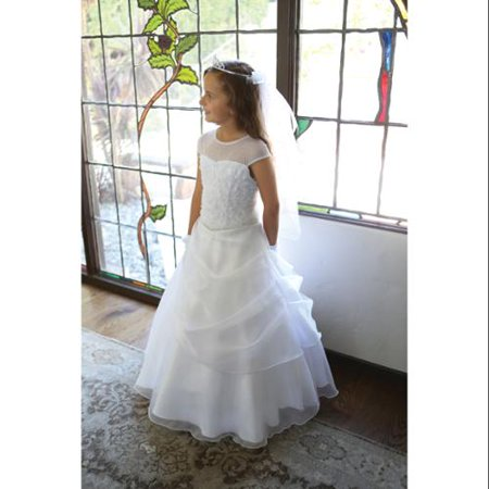 Angels Garment Girls White Draped Organza Sequin Communion Dress 14 - Communion Dress Sale