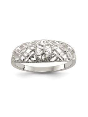Sterling Silver 20 MM Diamond Cut Filigree Ring, Size 6