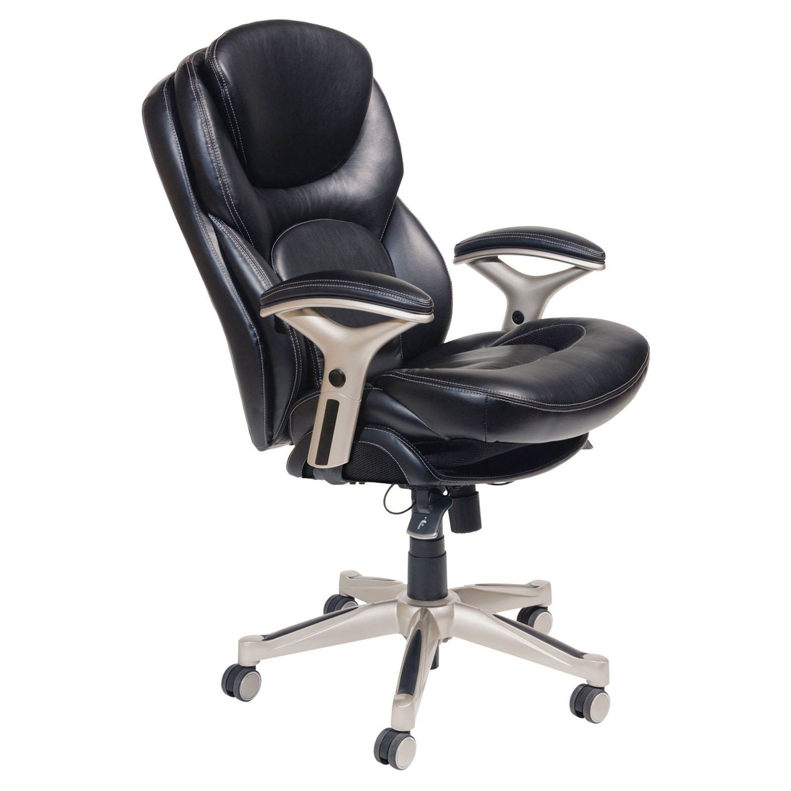 Serta Back in Motion Health and Wellness Mid-Back Bonded Leather Executive Office Chair, Smooth Black