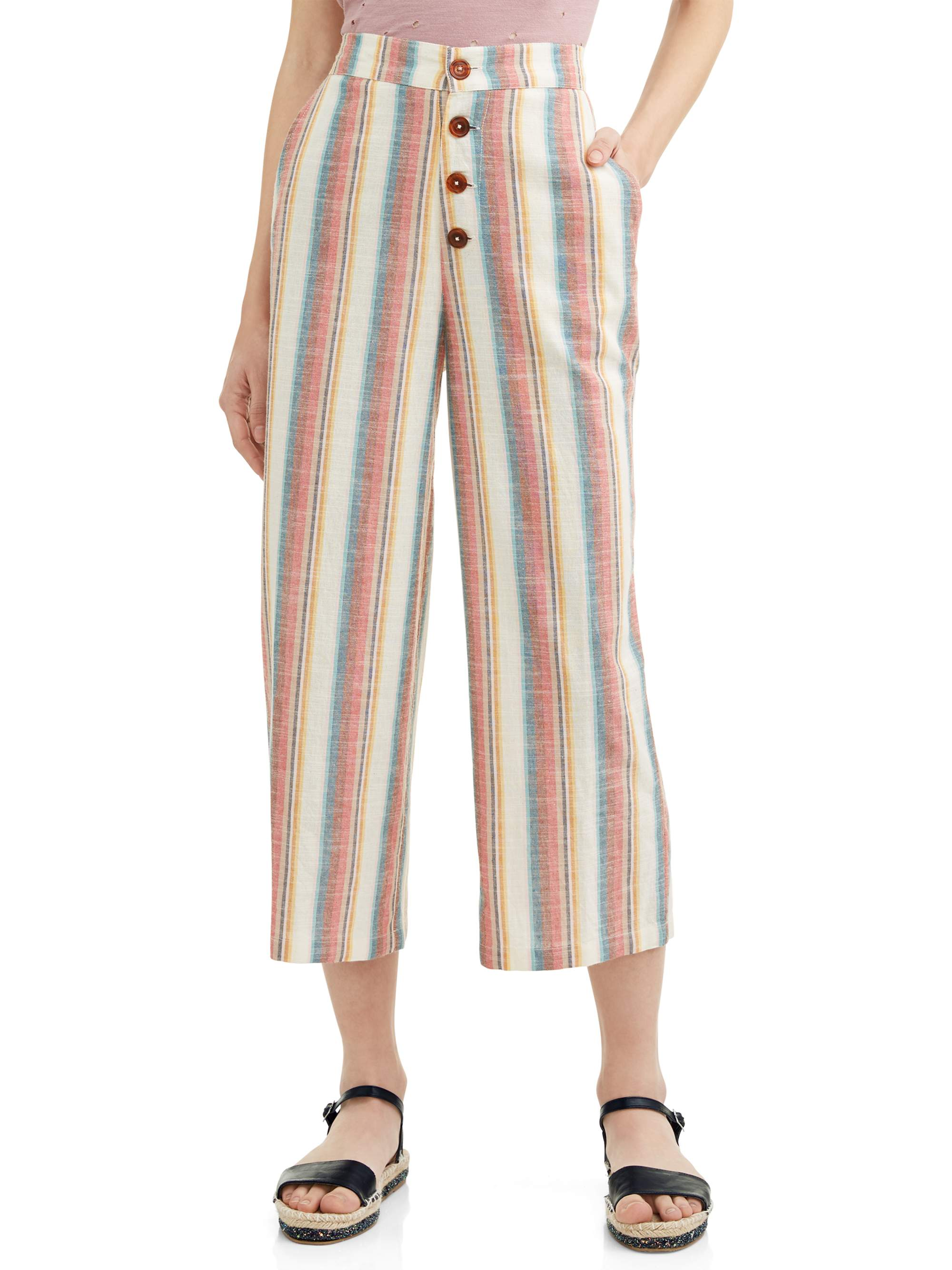Juniors' Chunky Stripe Wide Leg Cropped Pants