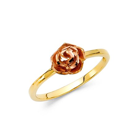 Rose Ring Solid 14k Rose Yellow Gold Flower Band Cocktail Ring Diamond Cut Floral Style Two Tone ()