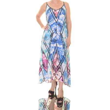 NY Collection Printed Cutout-Back High-Low Maxi Dress Size XS ()