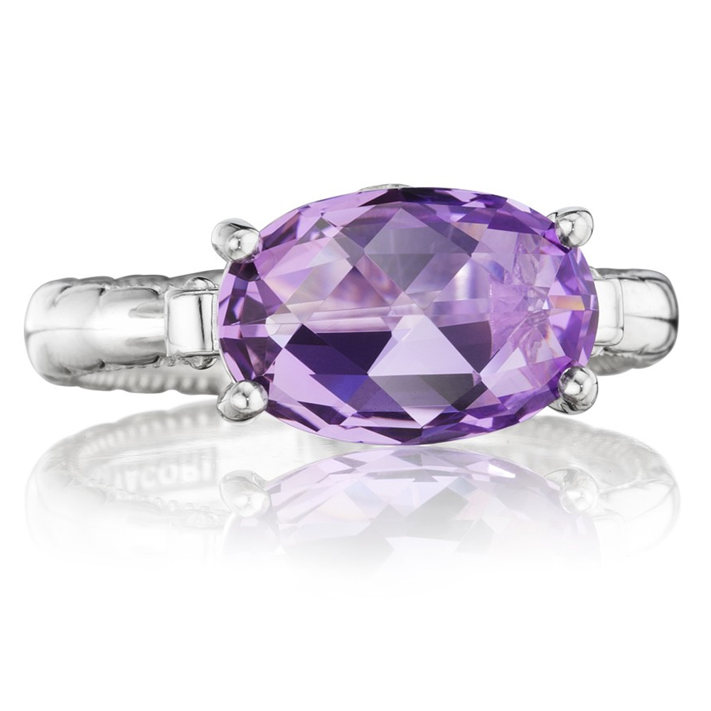 SR13901 Tacori Sterling Silver & 18KTY Lilac Blossoms East-West Oval Ring