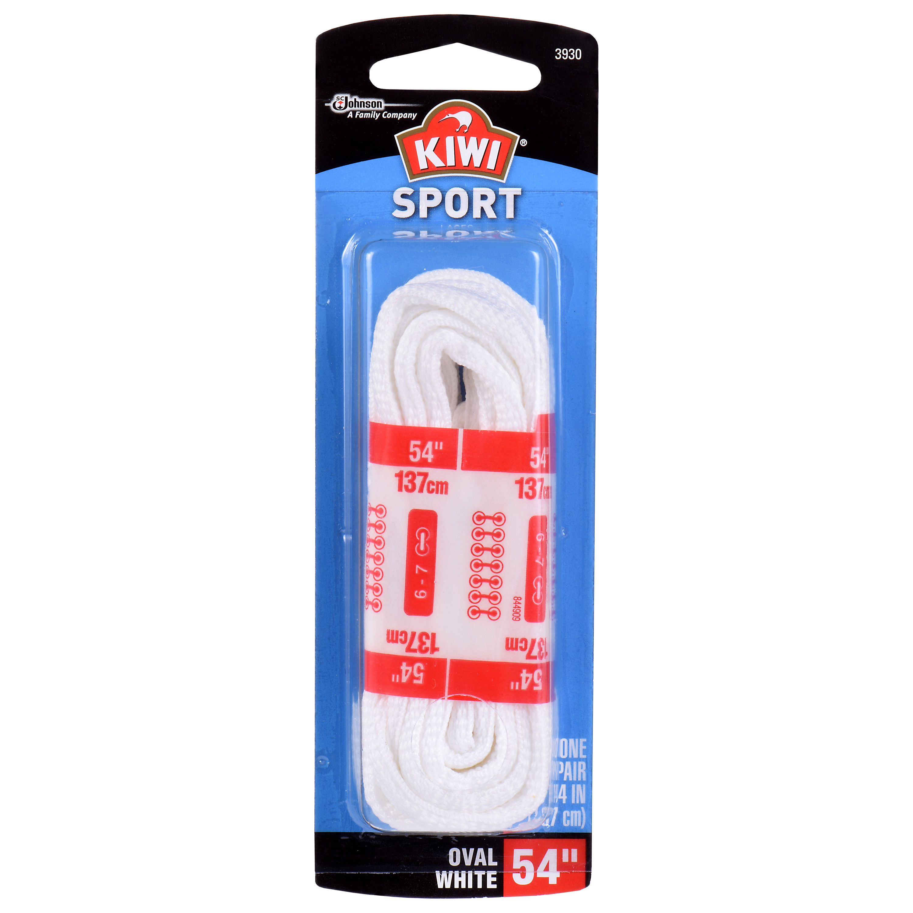 Sport Oval Laces White 54 1 pair
