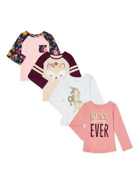 Garanimals Baby Girls & Toddler Girls Ruffled Peplum & Raglan Long Sleeve T-shirts, 4-Pack (12M-5T)